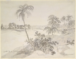 View of the River Gumti near Jaunpur (U.P.), with a distant tomb.  1 December 1789